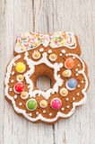 Christmas gingerbread wreath on wooden background Royalty Free Stock Photography