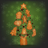 Christmas gingerbread for Xmas decoration. Green background, falling snowflakes. Vector illustration Royalty Free Stock Photo