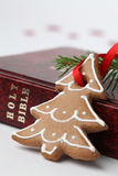 Christmas gingerbreadn and the Bilbe Stock Images