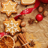 Christmas gingerbreads baking Royalty Free Stock Photography