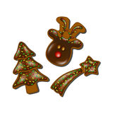Christmas gingerbreads with chocolate Royalty Free Stock Images