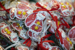 Christmas gingerbreads at christmas market.  Royalty Free Stock Photo
