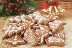 Christmas gingerbreads and decoration on wooden table Stock Image