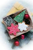 Christmas gingerbreads in the form of a christmas symbols Royalty Free Stock Photo