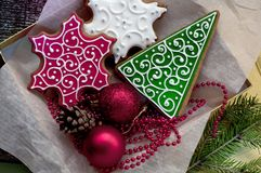 Christmas gingerbreads in box Royalty Free Stock Photography