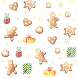 Christmas gingerbreads and gifts. Royalty Free Stock Photo