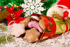 Christmas gingerbreads with icing Stock Photo