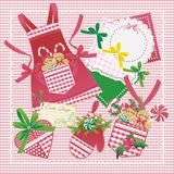 Christmas gingerbreads and kitchenware. Vector background with Christmas ginger-breads and kitchenware Stock Photo