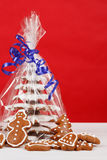 Christmas gingerbreads tree on red background Royalty Free Stock Images