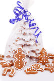 Christmas gingerbreads tree on white background Royalty Free Stock Photography