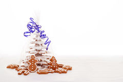Christmas gingerbreads tree on white background Royalty Free Stock Image