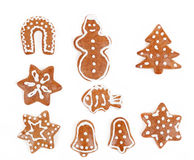 Christmas gingerbreads on white background Royalty Free Stock Photo