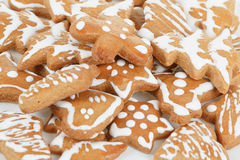 Christmas gingerbreads on white background Royalty Free Stock Photos