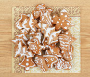 Christmas gingerbreads on wooden table Stock Images