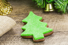 Christmas gingerbreads on wooden table Stock Photo