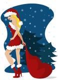 Christmas girl stock illustration
