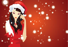 Christmas girl. With red background Stock Photography