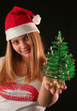 Christmas girl. Christmas blonde girl offer a little Christmas-tree, black background stock image