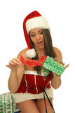 Christmas girl. Picture of the beautiful christmas girl with bag on the white background Stock Photo