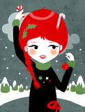 Christmas Girl. A cute and delicious Christmas illustration. Perfectly suitable for flyers, cards and invitations Royalty Free Stock Photography