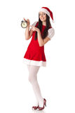 Christmas girl with alarm clock. Stock Images