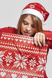 Christmas girl with bag Royalty Free Stock Photography
