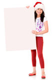 Christmas girl with a banner Royalty Free Stock Photo
