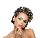 Christmas Girl. Beautiful Christmas wreath. New Year Stock Images
