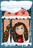 Christmas Girl Behind Window. Christmas card. The girl behind the window waiting for a Christmas miracle. Vector illustration Stock Photos
