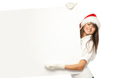Christmas girl with billboard Royalty Free Stock Photos