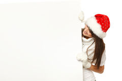 Christmas girl with billboard Stock Image