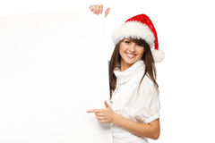 Christmas girl with billboard Royalty Free Stock Images