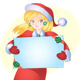 Christmas girl. With blanc paper on yellow background Stock Photo