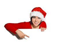 Christmas girl with Blank sign. Isolated over white stock photography