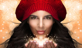 Christmas Girl Blowing Snow. Caricature Stock Photography