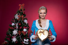 Christmas girl in blue cloth with present Stock Photography