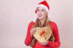 Christmas girl with boxes of gifts Royalty Free Stock Photography