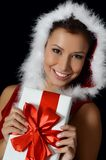 Christmas girl with boxes of gifts Royalty Free Stock Photo