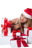 The Christmas girl with boxes of gifts  Royalty Free Stock Photo