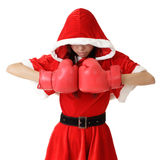 Christmas girl with boxing gloves Stock Photo
