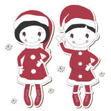 Christmas  girl and boy Royalty Free Stock Image