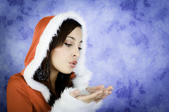 Christmas girl breath Royalty Free Stock Image