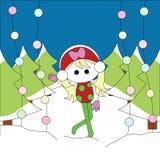 Christmas girl card. For christmas theme Stock Photos