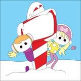 Christmas girl card. For christmas theme Stock Photography