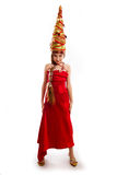 Christmas girl in a carnival red dress. The Christmas girl in a carnival red dress Royalty Free Stock Images