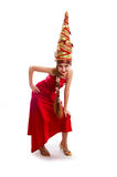 Christmas girl in a carnival red dress Royalty Free Stock Image