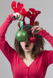 Christmas Girl with christmas ball Royalty Free Stock Photos