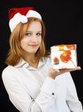Christmas girl with christmas gift Royalty Free Stock Photo