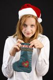 Christmas girl with Christmas sock Royalty Free Stock Photography
