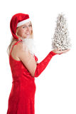 Christmas girl with christmas tree. Pretty girl in a santa dress holding up a very small white christmas tree Stock Image